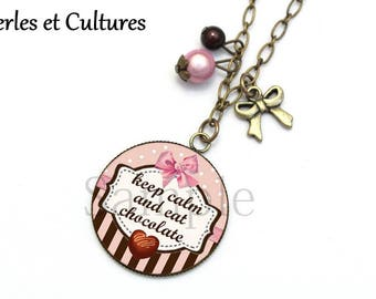 Keep calm and eat chocolate ღ necklace Pearl chocolate heart pink polka bow ღ