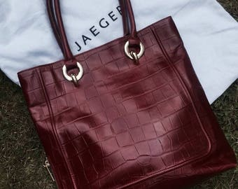 Red leather crocodile skin tote bag by Jaeger