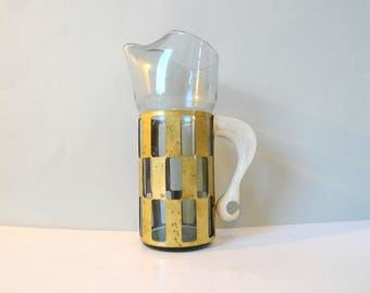 Brutalist Holmegaard Style Smoke Glass Wine pitcher - Smoked glass brass and wood carafe