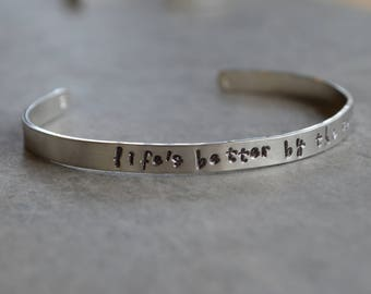 personalized sterling silver cuff bracelet Life is better by the sea