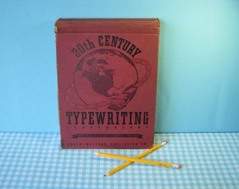 Mid Century Typing Book  - 20th Century Typewriting - 1942 Edition - Hardback - Retro Pictures  & Illustrations -  Vintage Office