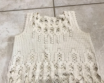 Vintage 70's Cream Crocheted Festival Cropped Tank Top XS/S Boho free people
