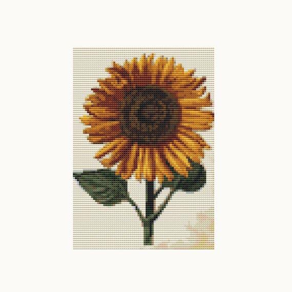 MINI Cross Stitch Pattern PDF - Sunflower - Daniel Froesch - Floral Cross Stitch - Instant Download (TAS135)