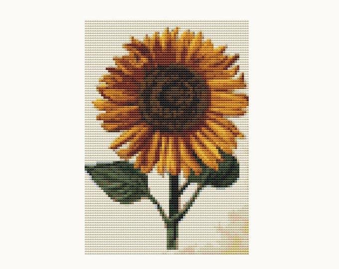 Mini Cross Stitch Pattern PDF, Embroidery Chart, Art Cross Stitch, Floral Cross Stitch, Sunflower by Daniel Froesch (TAS135)