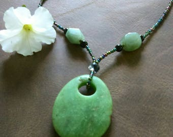 Handmade Green Adventurine Pendant Beaded Necklace.