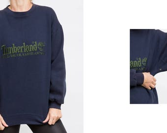 Vintage Timberland Oversized Pullover / 90's Vintage Navy Blue Sweater by Timberland/ Size