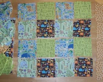 "Zoo Animal Fabric Squares 6"" plus Scrap - Animal Patchwork Quilt Square - Monkey Giraffe Baby Blanket Fabric - Zoo Safari Jungle Baby Fabric"