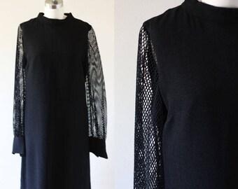 1960s black mesh sleeve dress // 1960s black mod dress // vintage dress