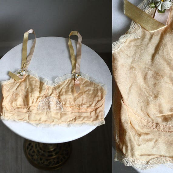 1920s silk bralette // antique peach bra // vintage bra