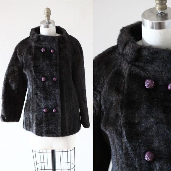 1960s brown cocktail coat //faux fur coat // vintage coat