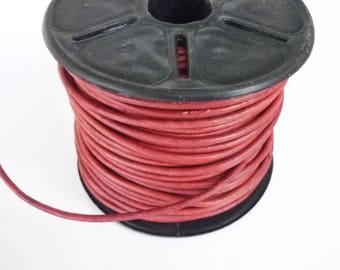 1 meter red 2mm round leather