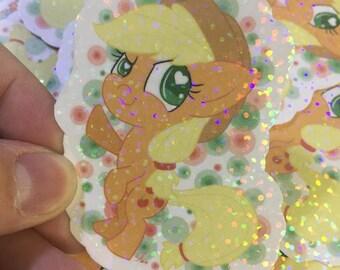 Applejack Mane 6 MLP My Little Pony inspired 3in holographic sticker