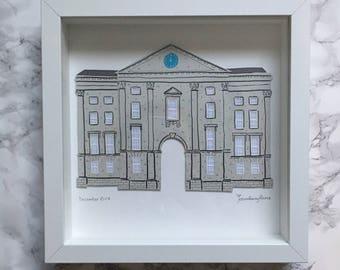 Trinity College Dublin original paper art framed