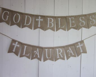 Baptism Banner - Christening Bunting - Confirmation Banner - First Communion Garland -Baby Dedication Burlap Banner - Name Blessing Sign