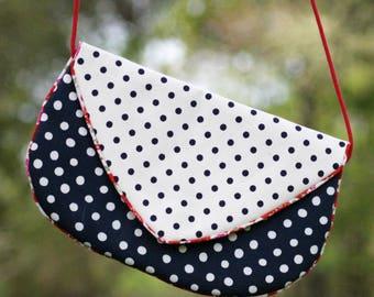 Mini handbag for women cotton ecru blue polka dots