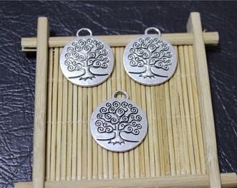 6 round pendant charms tree of life antique silver
