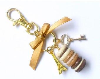 ON SALE Mocha Chocolate Macaron Trio Eiffel Tower Keychain, Purse or Bag Charm, Cute And Kawaii :D