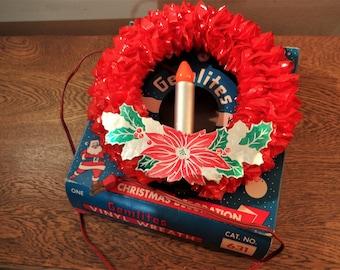 Retro Lighted Christmas Wreath - Gemlites Vinyl Wreath in Original Box - Red CellophaneWindow Wreath -Old Christmas Lights- 1950's Christmas