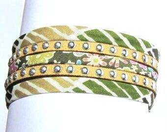 Cuff Bracelet, fabric cord, studded, Brown, Khaki