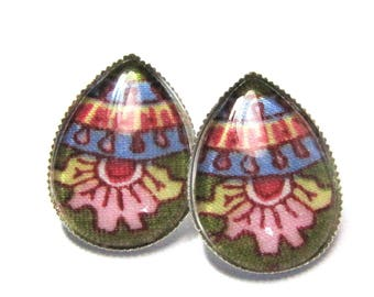 Earrings drops cabochons - fabric with multicolored flowers