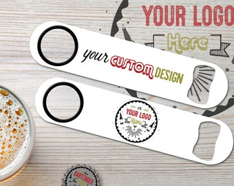 Personalized Stainless Steel Custom Inked Bartender Speed Bottle Openers | Your Custom Design/Your Logo | Choose Colors | FREE SPINNER RING