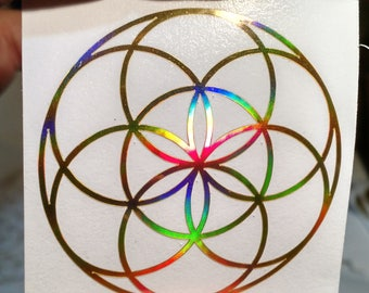 "Seed of Life Sticker.  Prismatic Rainbow Silver or Gold.  2"" or 3"" Size"