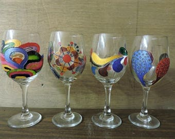 Hand Painted Wine Glasses - Set of 4 - Whimsical Modern Art