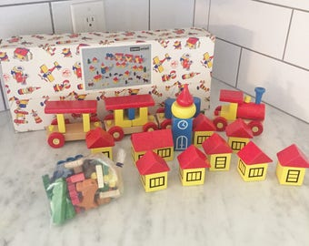 Vintage German Toy Village, Wooden Village, Wood Train Set, Made in Germany, Neiman Marcus Toy