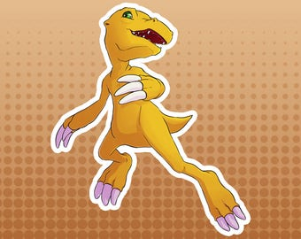 Digimon Digital Monsters - Agumon FanArt Large Die Cut Vinyl Sticker