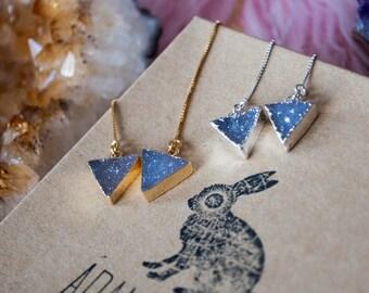 Triangle Druzy Threader Earrings, Crystal Threaders