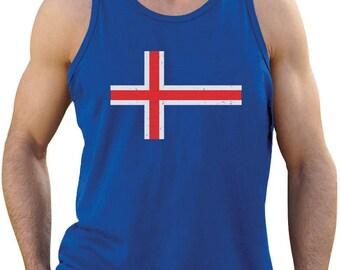 Iceland Flag Vintage Style Retro Icelandic Singlet
