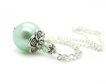 Mint Bridesmaid Jewellery, Mint Green Pearl Necklace, Pastel Wedding Jewellery, Bridesmaid Gifts, Single Pearl Drop, Mint Wedding,
