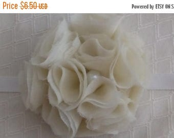 "July Sale 2""-3"" Handmade white Fabric Hair Bow Embellishment Cottage Chic French Chic Rosette Flower"