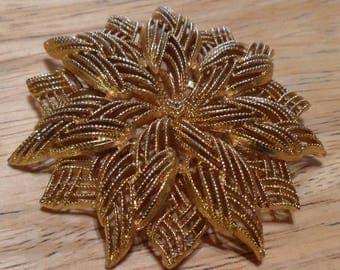 Vintage Large MONET Open Work Gold Tone Filgree Round Floral Design Brooch