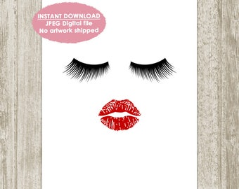 Lips and Lashes Printable, Lashes Print, Lips Print, Eyelash Print, Makeup Wall Decor, Beauty Poster, Fashion Art, 8x10, Instant Download