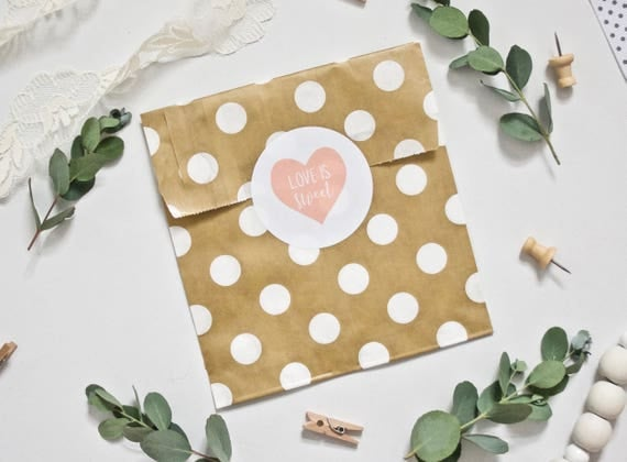 WEDDING STICKERS - Love is Sweet Candy Bar Stickers - Heart Logo - Choose Your Colour - White Gloss Labels - Wedding Favours Favors