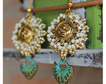 Heart and Sun Earrings, mystic earrings, golden earrings, symbolic jewelry, Boho Jewelery, Wiccan Pagan, simple earrings, Tarot earrings