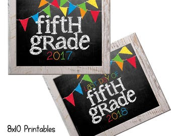 5th Grade First Day Back to School (Bonus Last Day, too!) Photo Props. Print this fall & spring. Printable 8x10 Kids Instant Download.