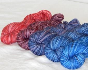 Cosmos, set of 5 gradient on Mad Sock 75/25 SW merino and nylon sock yarn
