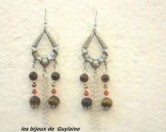 Earrings tiger eye and crystal of Swarovski