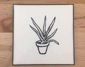 Framed Aloe Linocut Print // 8x8 inches