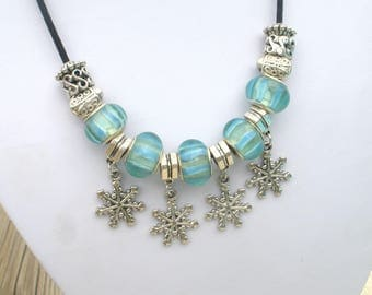 Necklace creation INGRID blue glass beads
