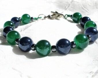 Green and blue glass beaded bracelet