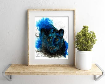 Black Panther print by Ellen Brenneman, Panther art, Black Panther wall decor, Panther comic art, Marvel Studios, cat wall decor