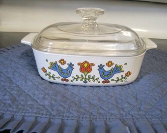 Vintage Pyrex Covered 1 Qt Baking Dish ( Friendship Pattern) 1975