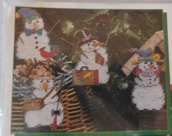 vintage Mary Maxim Christmas craft kit SNOW PEOPLE ORNAMENTS plastic canvas new