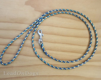 Lace Dog Show Leash Braided in Gold, Turquoise & Blue Kangaroo Leather Lace with Small Clip - Lead On Jeddah