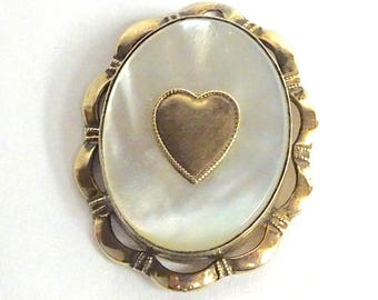 1930s 12K Gold Filled on Sterling Mother of Pearl Heart Locket – PR St Co- Providence Stock Company- Gold Locket - Vintage Jewelry
