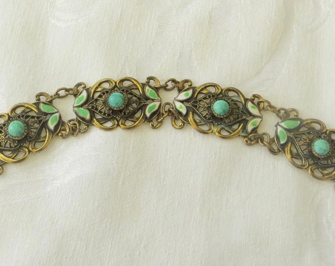 Vintage Czech Glass Bracelet, Champleve Enamel Leaves, Filigree Panels, Neiger Style 1930s