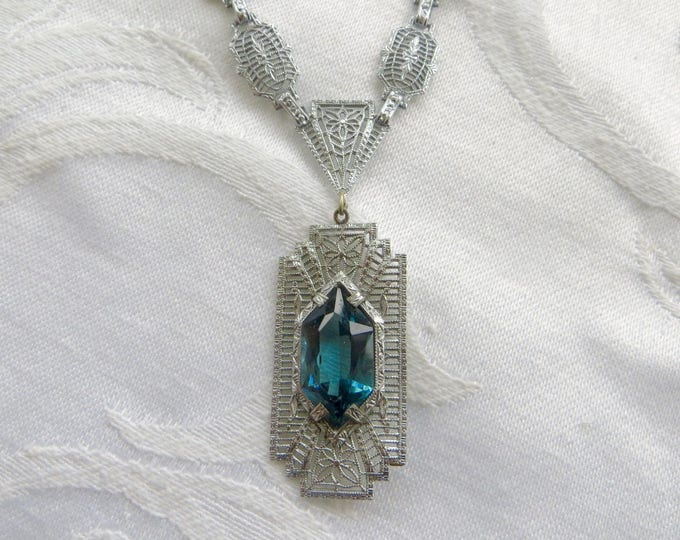 Antique Art Deco Filigree Necklace, Aquamarine Stone, Vintage Wedding Necklace, Something Blue